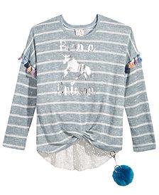 Belle Du Jour Lace-Trim Twist-Front Sweater, Big Girls