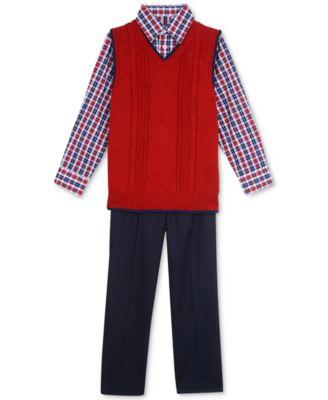 Nautica 3-Pc. Plaid Shirt, Fair Isle Sweater Vest & Pants Set ...