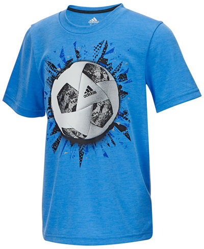 adidas Soccer-Print T-Shirt, Little Boys - Shirts & Tees - Kids ...