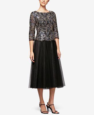 Alex Evenings Embroidered A-Line Dress