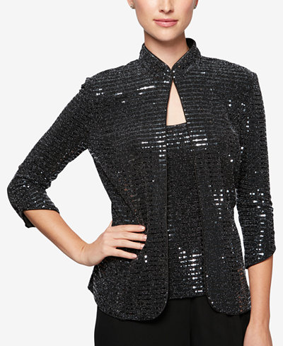 Alex Evenings Sequined Jacket & Shell