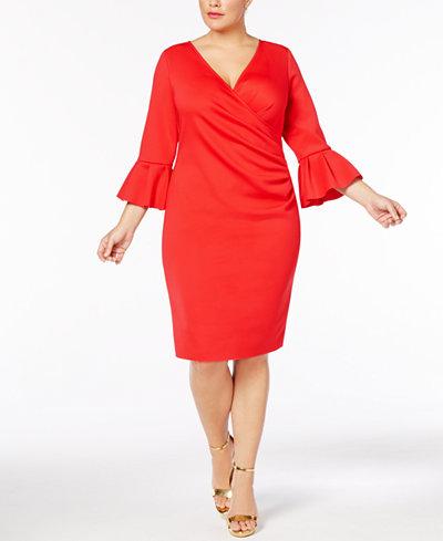 Betsy & Adam Plus Size Bell-Sleeve Scuba Wrap Dress