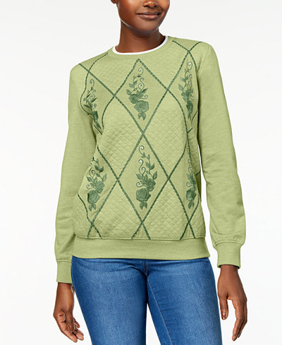 Alfred Dunner Pastel Skies Embellished Embroidered Quilted ... : quilted sweatshirt - Adamdwight.com