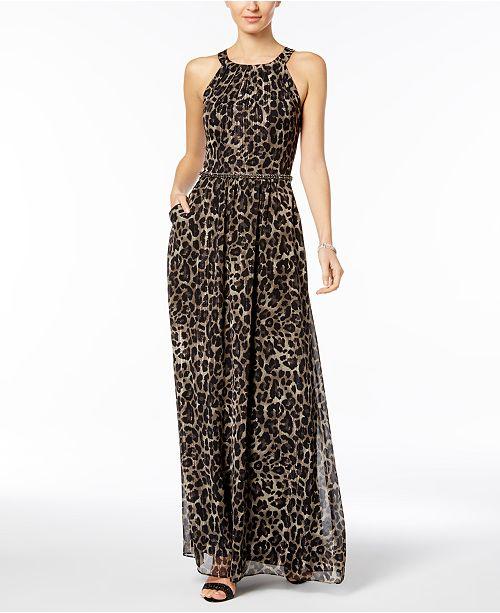 ad877a70b3 SL Fashions Embellished Animal-Print Maxi Dress - Dresses - Women ...