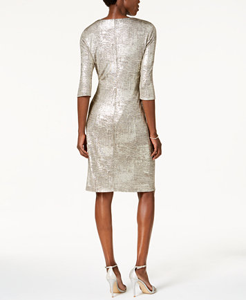 Connected Metallic-Foil Sheath Dress, A Macy\'s Exclusive Style ...