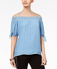 Thalia Sodi Tie-Sleeve Off-The-Shoulder Gauze Top, Created for Macy's