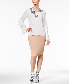 Thalia Sodi Appliqué-Detail Top & Scuba Pencil Skirt, Created for Macy's