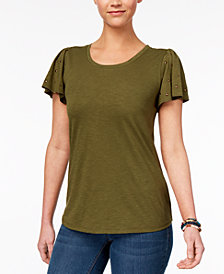 Style & Co Petite Studded-Sleeve T-Shirt, Created for Macy's
