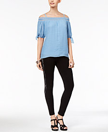 Thalia Sodi Tied Gauze Cold-Shoulder Top & Asymmetrical Lace-Up Capri Pants, Created for Macy's