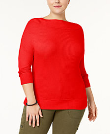 Lucky Brand Trendy Plus Size Waffle Thermal Top