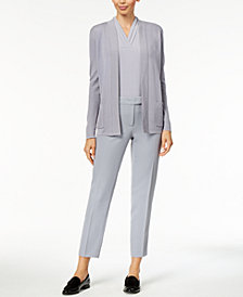 Anne Klein Open-Front Cardigan, Pleated Shell & Slim-Fit Pants