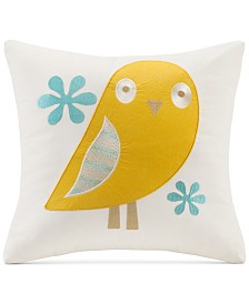 """INK+IVY Kids' Woodland Embroidered 16"""" Square Decorative Pillow"""