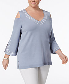 Love Scarlett Plus Size Embroidered Split-Sleeve Tunic Sweater