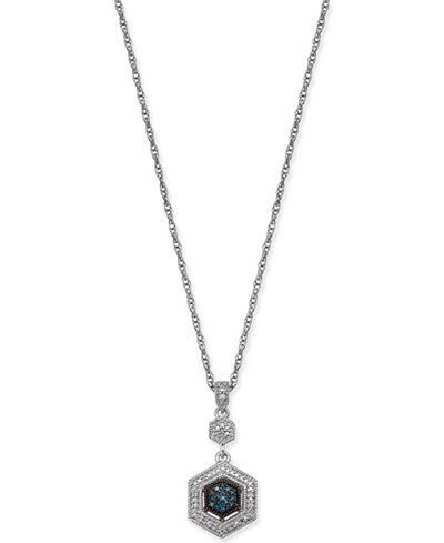 Diamond Hexagon Pendant Necklace (1/8 ct. t.w.) in Sterling Silver