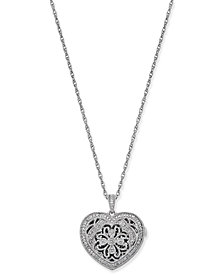 Diamond Filigree Locket Pendant Necklace (1/7 ct. t.w.) in Sterling Silver