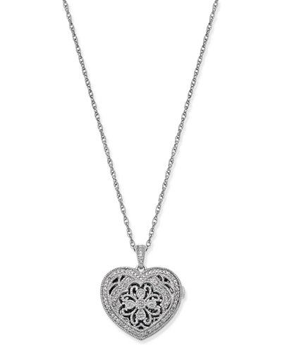 Diamond Filigree Locket Pendant Necklace (1/7 ct. t.w.) in Sterling Silver