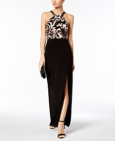 Nightway Sequined Scroll Slit Gown