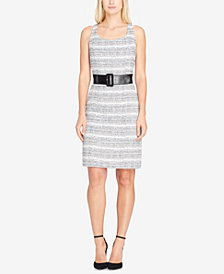 Tahari ASL Belted Bouclé Sheath Dress