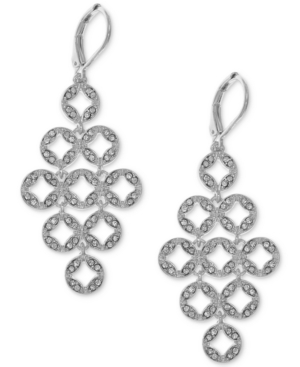 Anne Klein  SILVER-TONE PAVE CIRCLES CHANDELIER EARRINGS