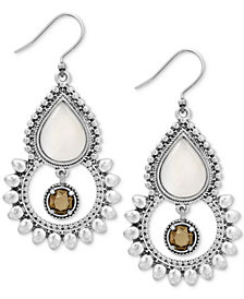 Lucky Brand Silver-Tone White & Brown Stone Drop Earrings