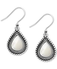 Lucky Brand Silver-Tone Imitation Pearl Drop Earrings