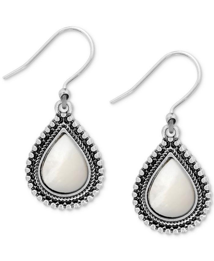 Lucky Brand - Silver-Tone Imitation Pearl Drop Earrings