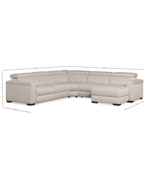Furniture Nevio 124 Quot 5 Pc Fabric Sectional Sofa With