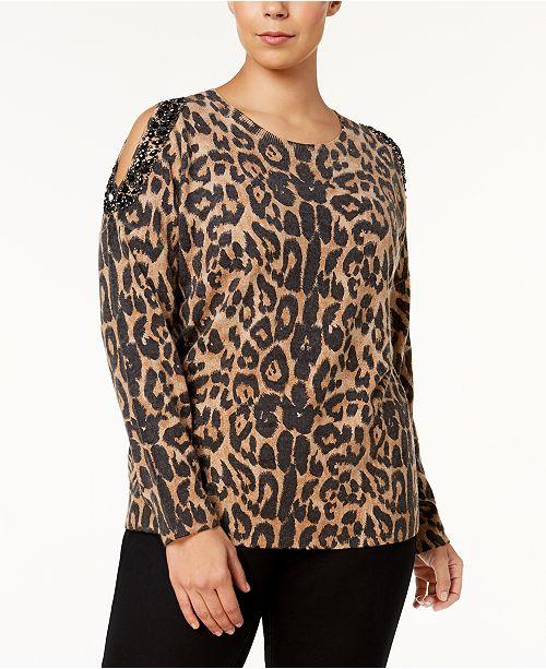 b31c09e06aa INC International Concepts I.N.C. Plus Size Cold-Shoulder Sweater ...