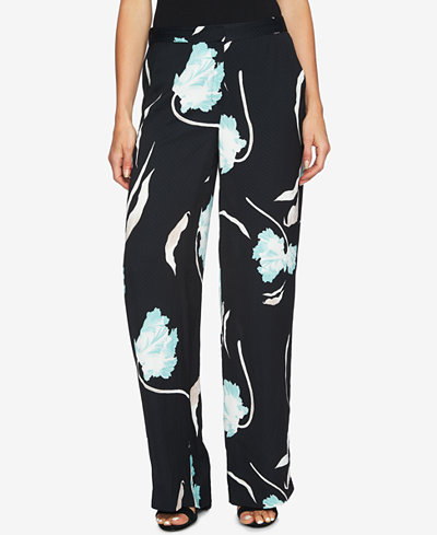 1.STATE Printed Flat-Front Wide-Leg Soft Pants