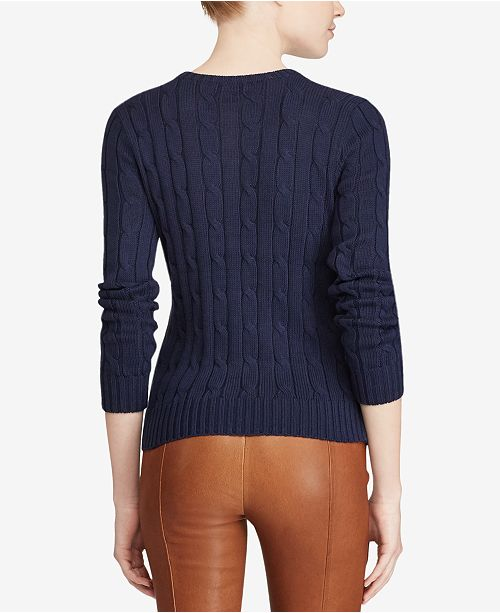 fffca80427ba Polo Ralph Lauren Cable-Knit Cotton Sweater   Reviews - Women - Macy s