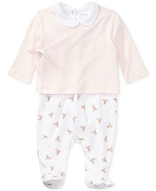 Ralph Lauren Baby Girls Bear 3-Pc. Cotton Set