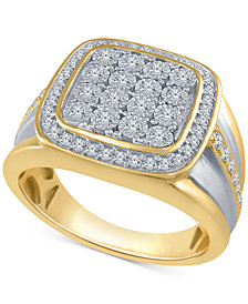 Men's Diamond Two-Tone Cluster Ring (1/2 ct. t.w.) in Sterling Silver and 14k Gold-Plated Sterling Silver