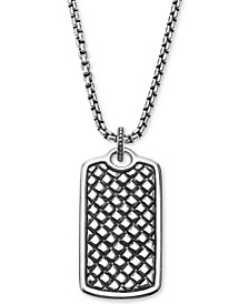Men's Textured Dog Tag Pendant Necklace in Sterling Silver