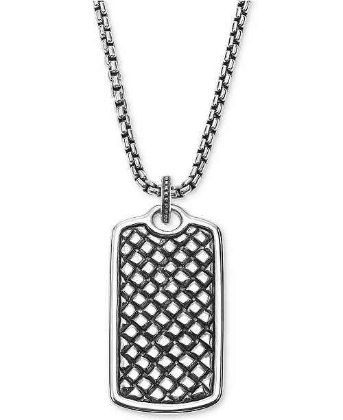 Scott kay mens textured dog tag pendant necklace in sterling silver main image main image aloadofball Images