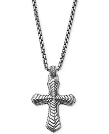 Men's Textured Pendant Necklace in Sterling Silver