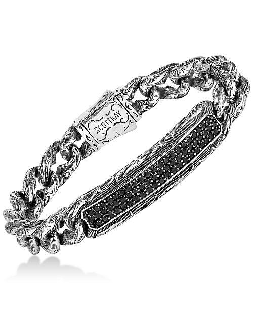 109511e70 Scott Kay Men's Black Sapphire Link Bracelet (3-1/4 ct. t.w.) in ...