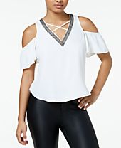 XOXO Juniors' Embellished Cold-Shoulder Top