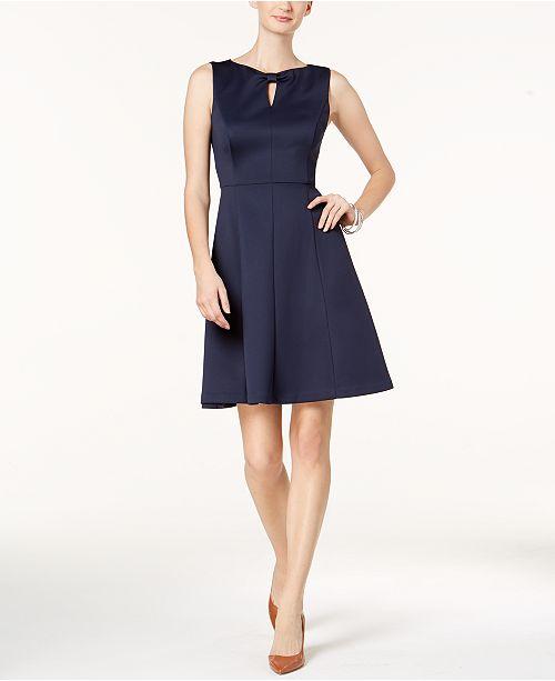Ellen Tracy Scuba Keyhole Fit & Flare Dress