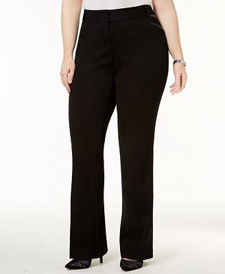 Alfani Plus Size Faux-Leather-Trim Bootcut Pants, Created for Macy's