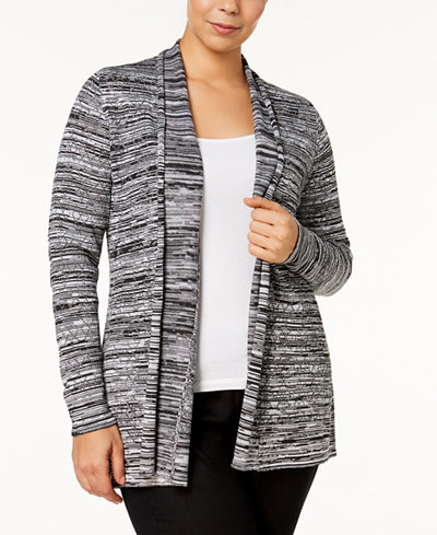 Belldini Plus Size Marled Open-Front Cardigan