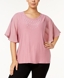 Belldini Plus Size Flutter-Sleeve Rhinestone Top