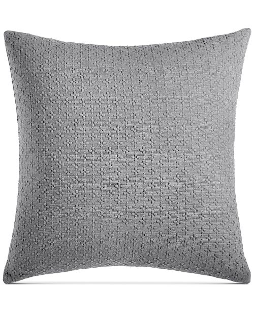 "Charter Club Diamond Dot Cotton 300-Thread Count 18"" x 18"" Decorative Pillow, Created for Macy's"