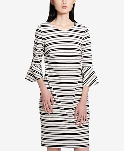 Calvin Klein Striped Ruffle-Cuff Sheath Dress