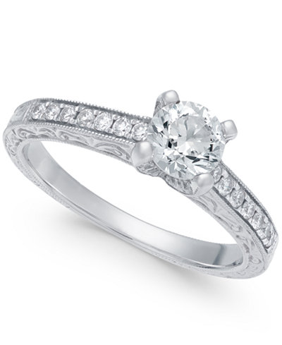Diamond Engraved Engagement Ring (3/4 ct. t.w.) in 14k White Gold