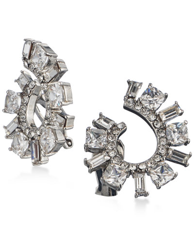 Carolee Silver-Tone Cubic Zirconia Spiral Clip-On Hoop Earrings