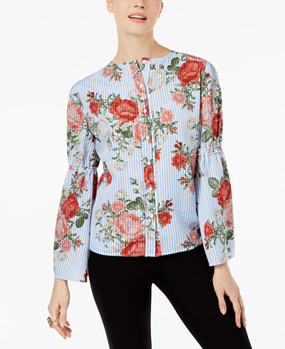 Cable & Gauge Mixed-Print Bell-Sleeve Blouse