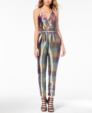 Vintage High Waisted Trousers, Sailor Pants, Jeans Xoxo Juniors Metallic Belted Jumpsuit $59.99 AT vintagedancer.com
