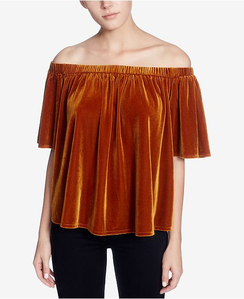 Catherine Malandrino Velvet Off-The-Shoulder Bloom Top