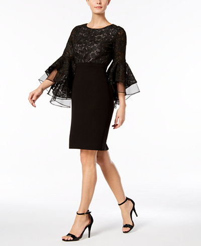 Calvin Klein Lace Bell-Sleeve Sheath Dress