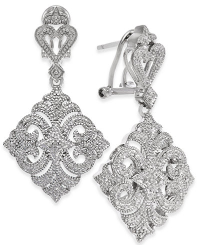 Diamond Filigree Drop Earrings (1/10 ct. t.w.) in Sterling Silver